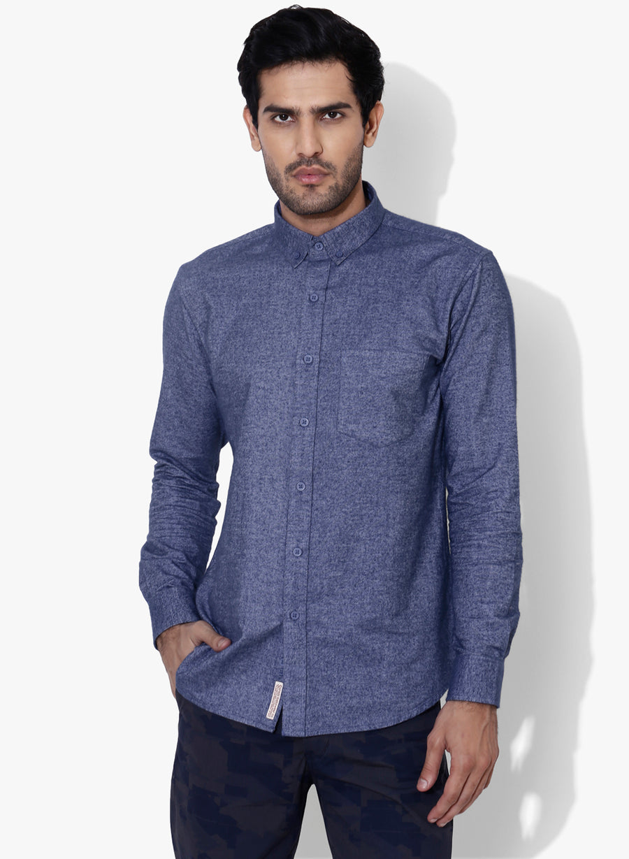 Brushed Cotton Flannel Blue Button Down Shirt