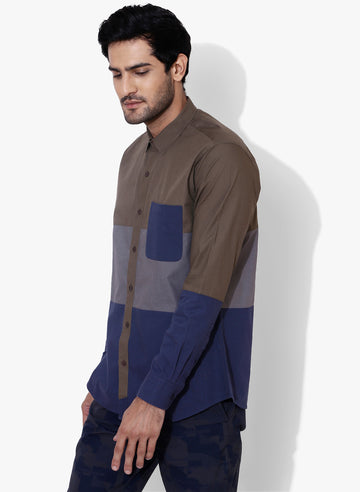 Iro Color Block Cutaway Collar Shirt