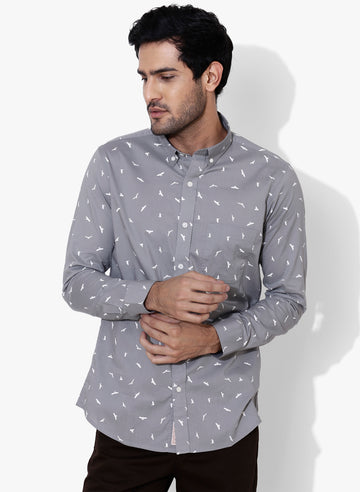 Torre Bird Print Button Down Shirt