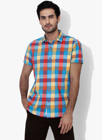 Lumin Check Half Sleeves Slim Fit Shirt