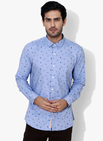 Surf Print Chambray Full Sleeves Slim Fit Shirt