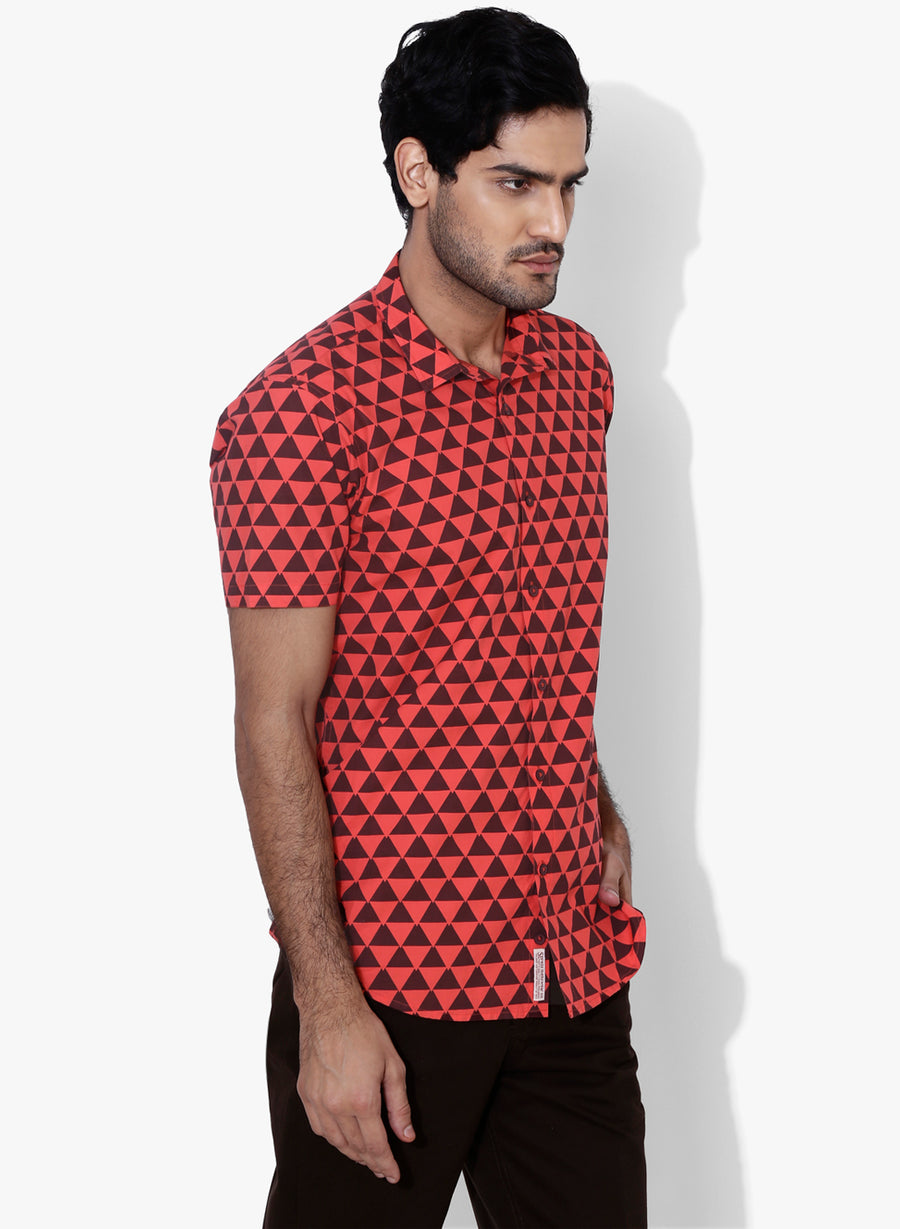 Acuto Geometric Print Half Sleeves Slim Fit Shirt