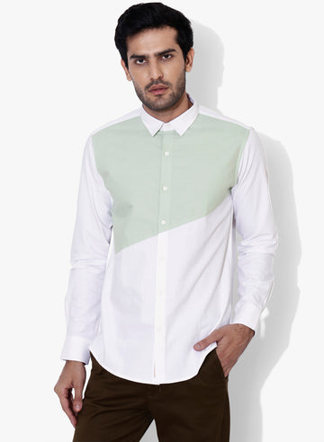 Bevel Color Block Oxford Slim Fit Shirt
