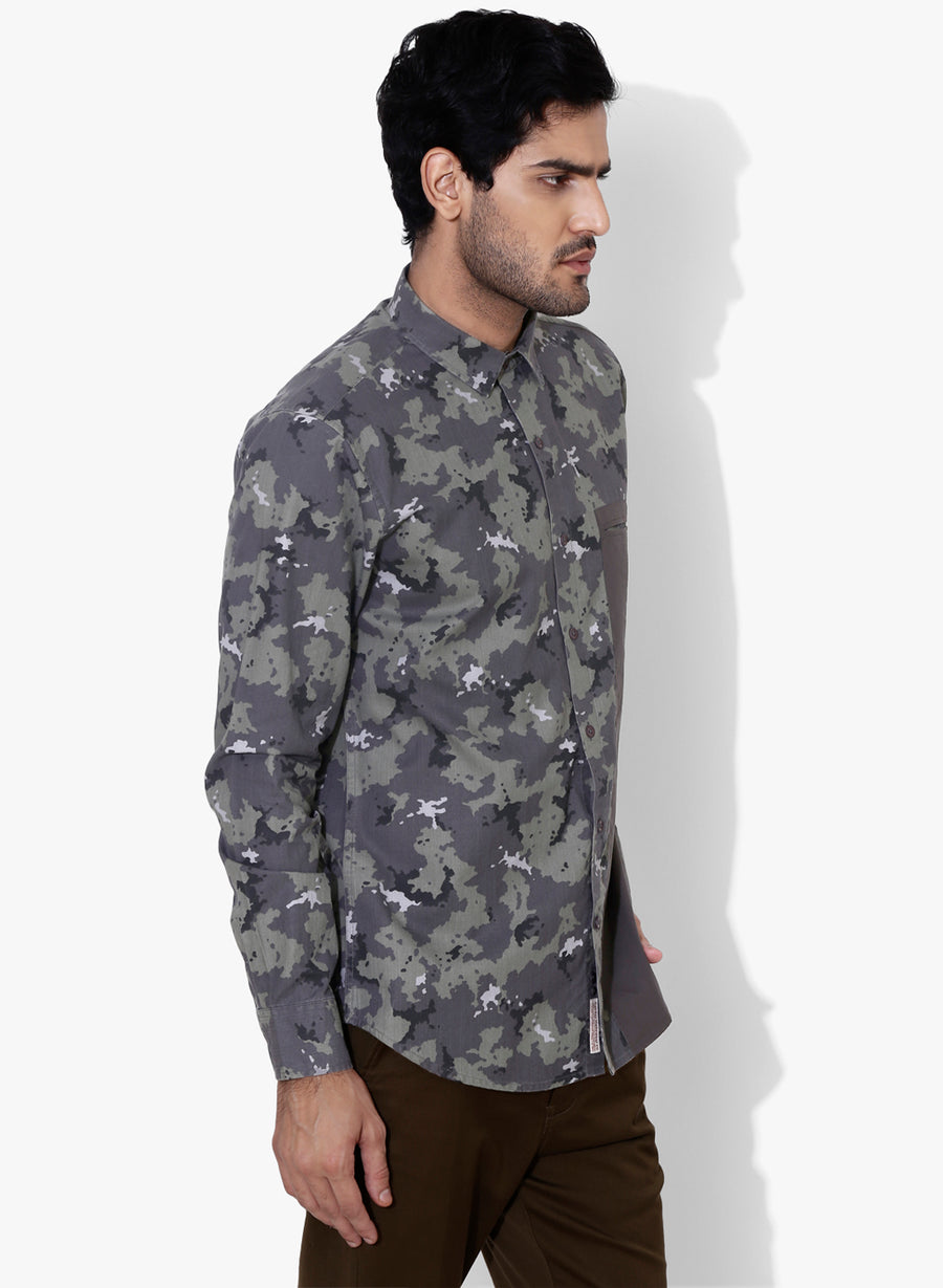 Camo Color Block Cutaway Collar Shirt