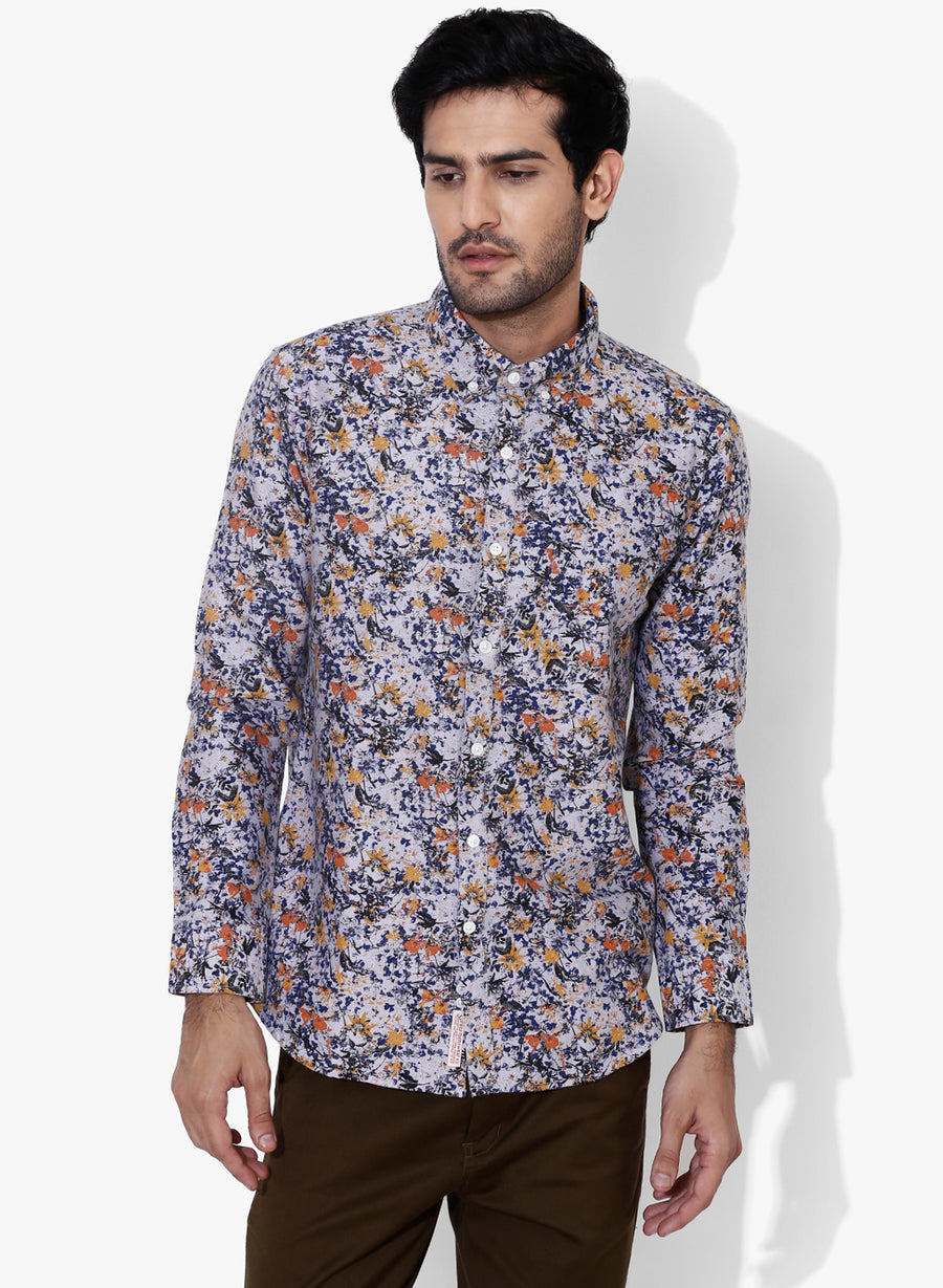 Furō Floral Print Button Down Slim Fit Shirt