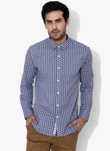 Kumo Cloud Print Cutaway Collar Shirt