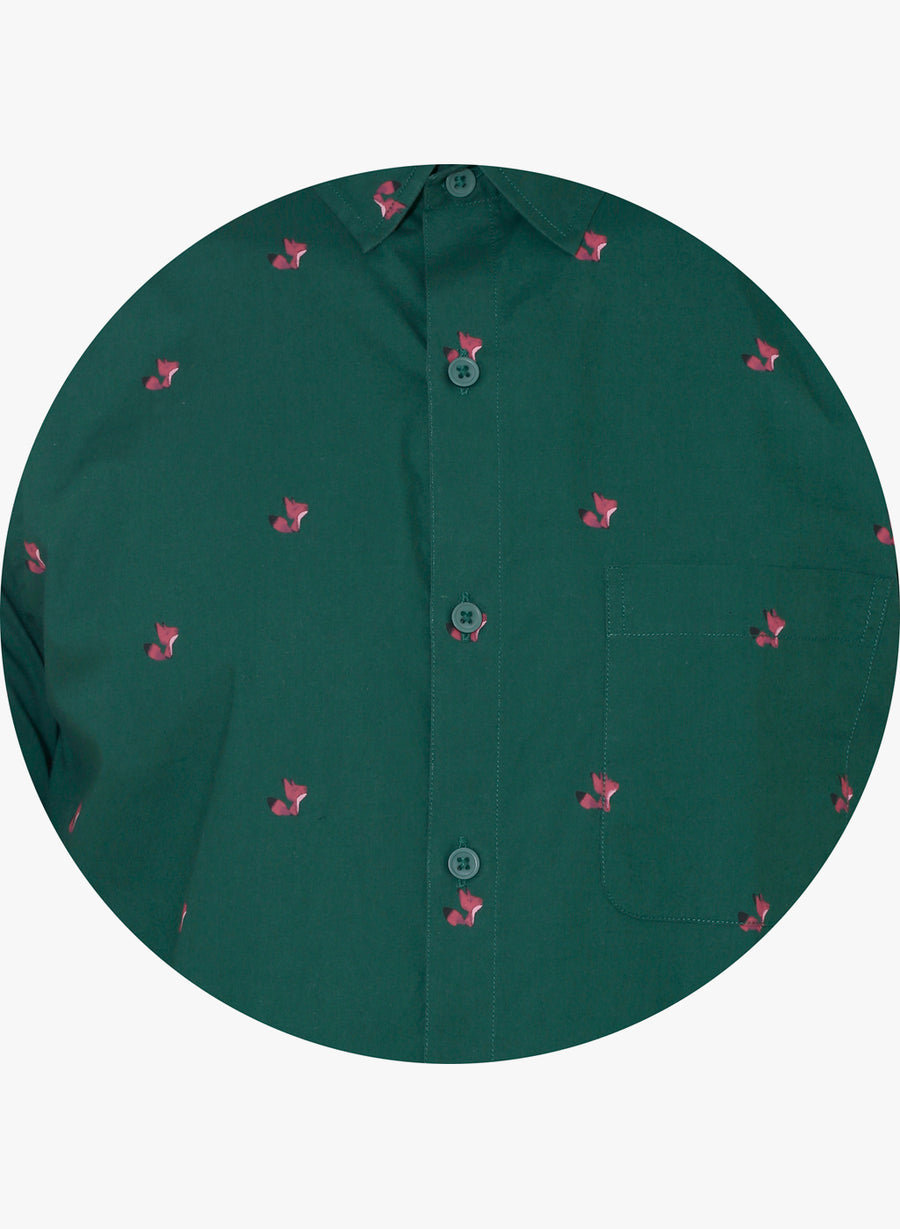 Fox Print Full Sleeves Slim Fit Shirt