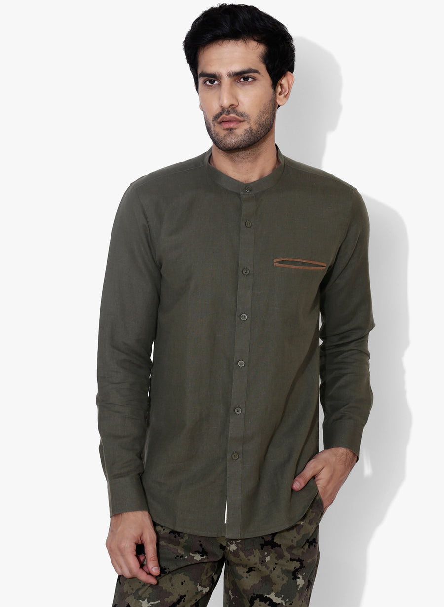Olivo Cotton Linen Mandrin Collar Slim Fit Shirt