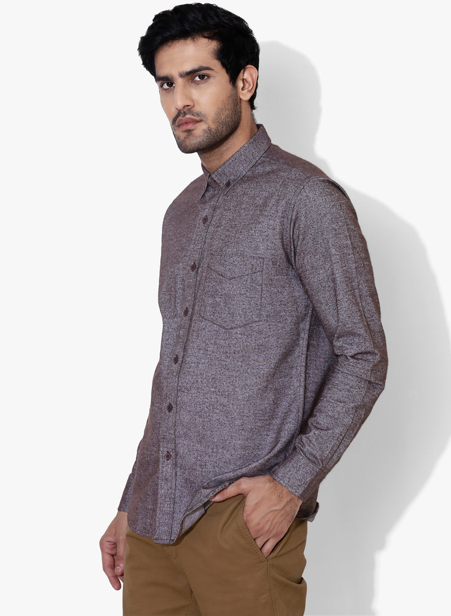 Brushed Cotton Flannel Button Down Shirt