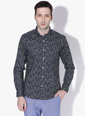 Riveria Flower Print Cutaway Collar Shirt