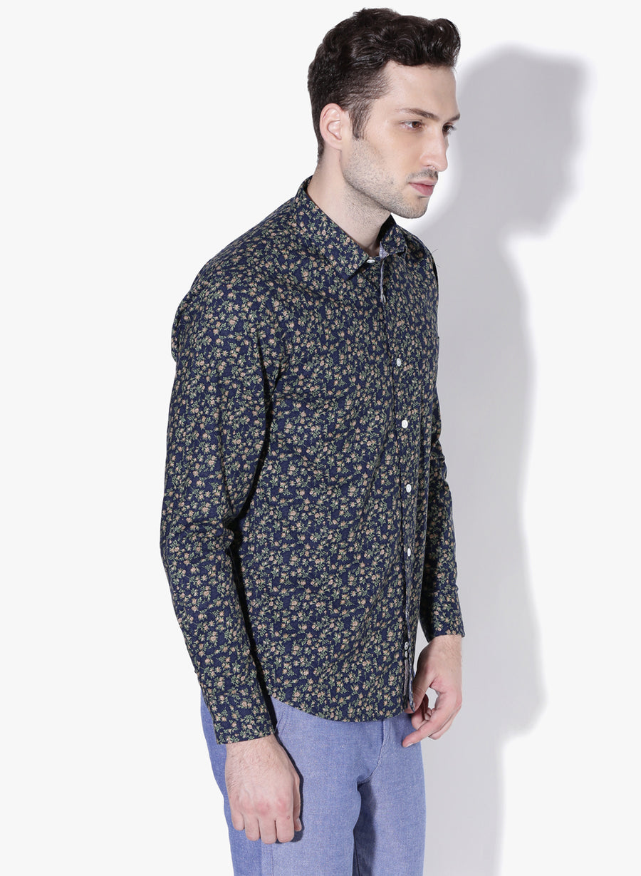 Evening Bloom Print Cutaway Collar Shirt