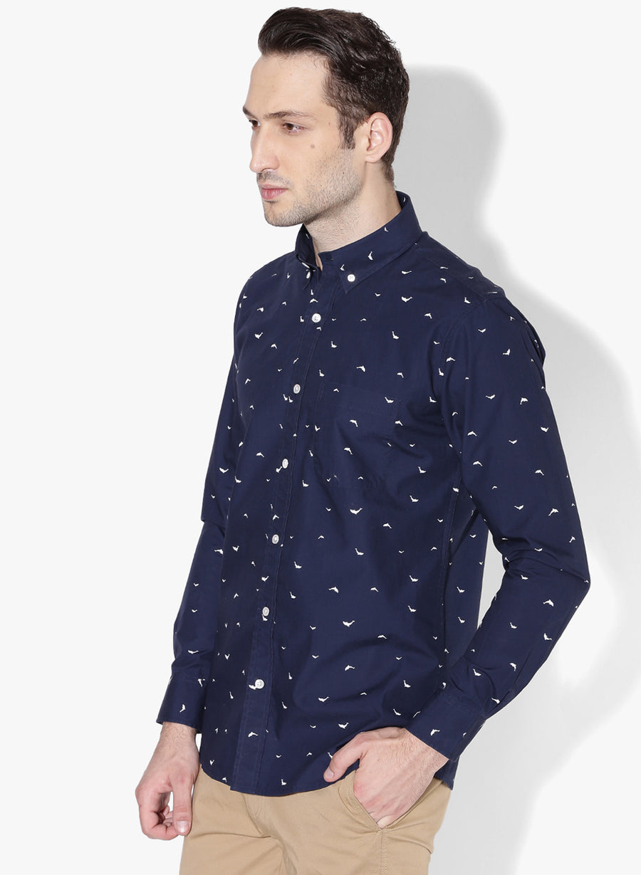 Dolphin Print Button Down Slim Fit Shirt