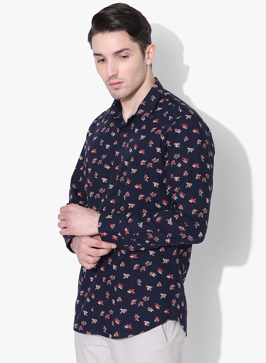 Calico Fish Print Cutaway Collar Shirt