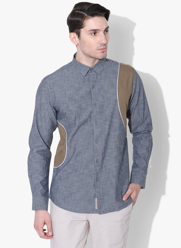 Denim Giro Color Block Full Sleeves Shirt