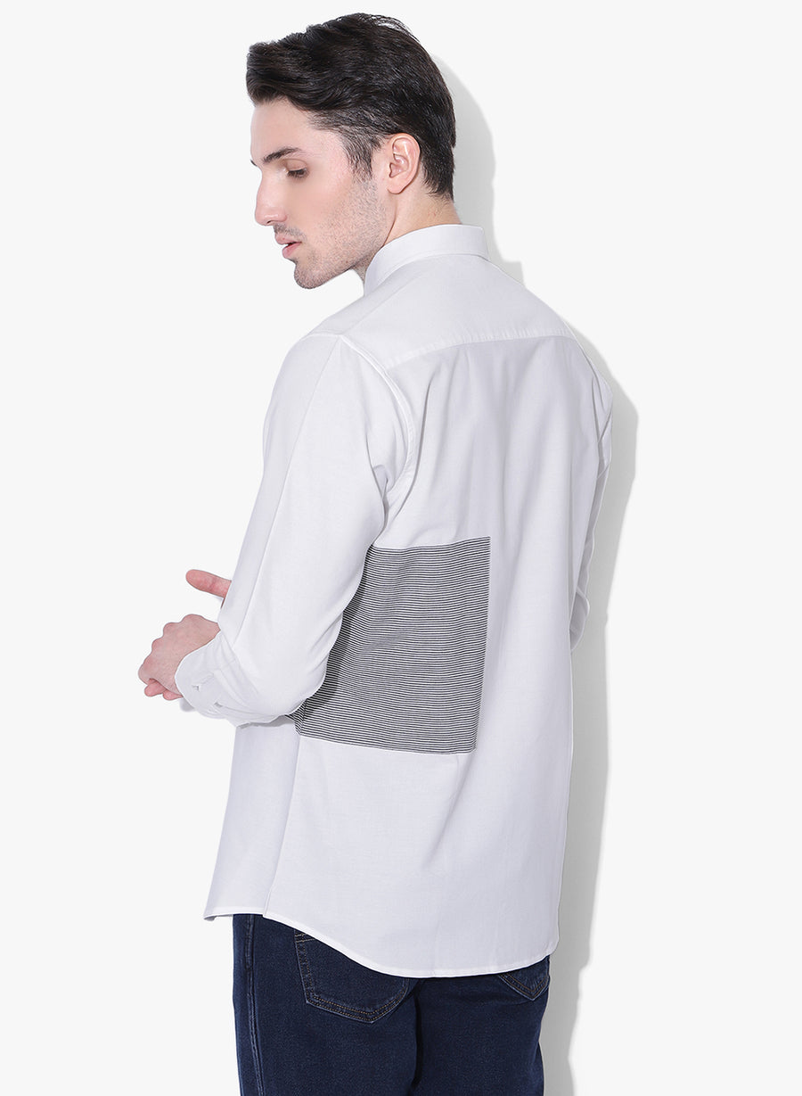 Shiro Color Block Cutaway Collar Shirt