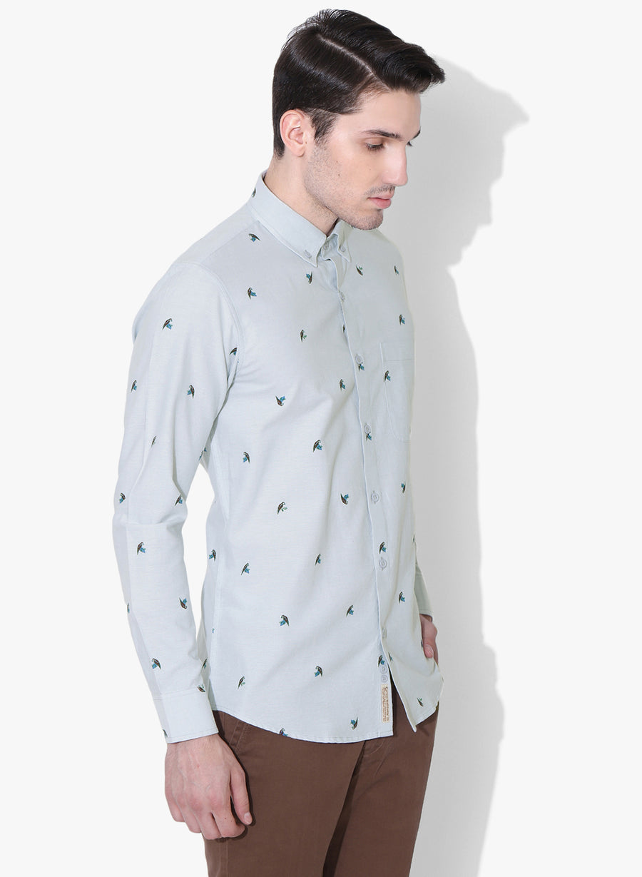 Bird of Prey Print Full Sleeves Button Down Shirt