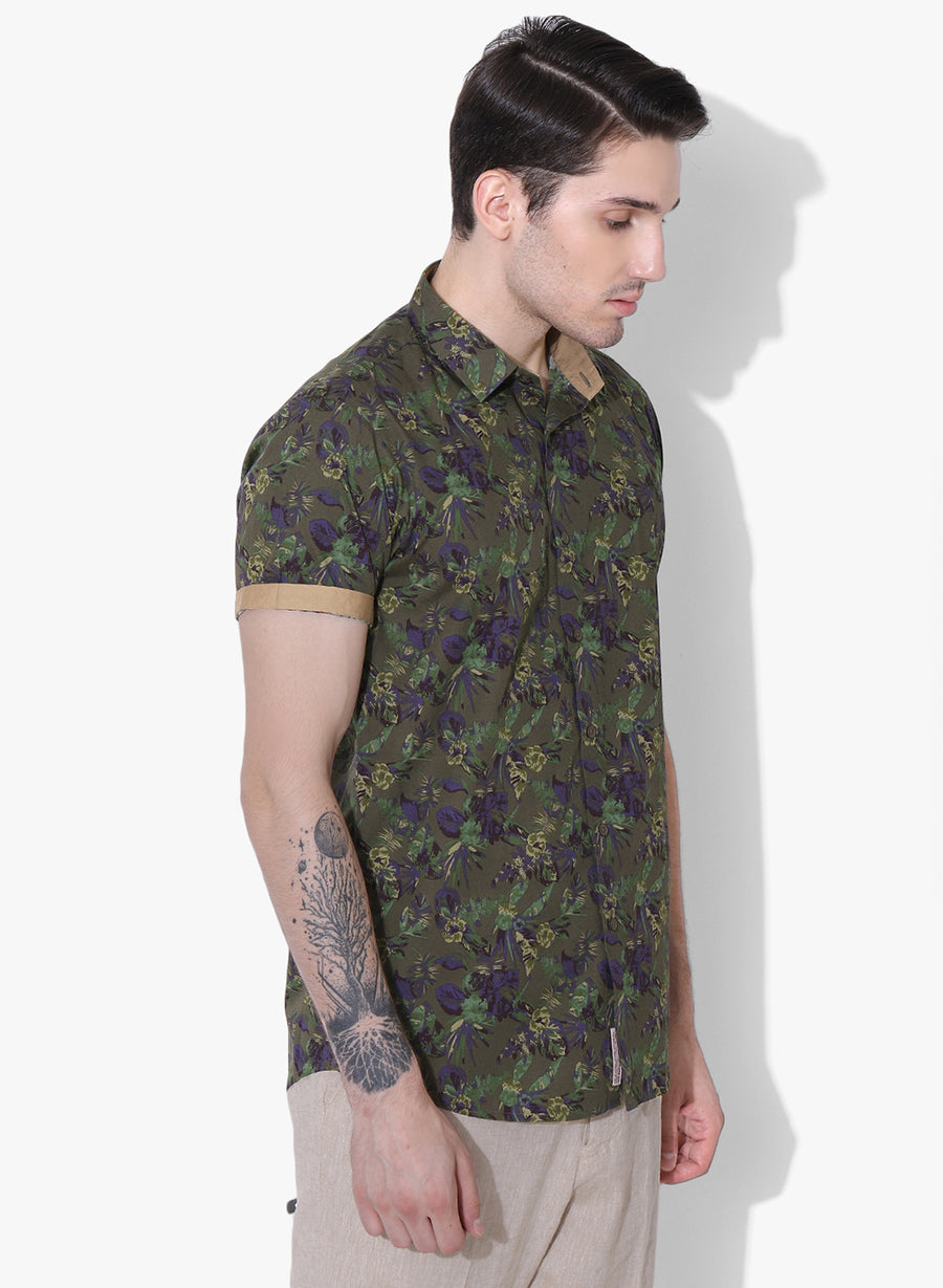 Bloom Print Half Sleeves Shirt
