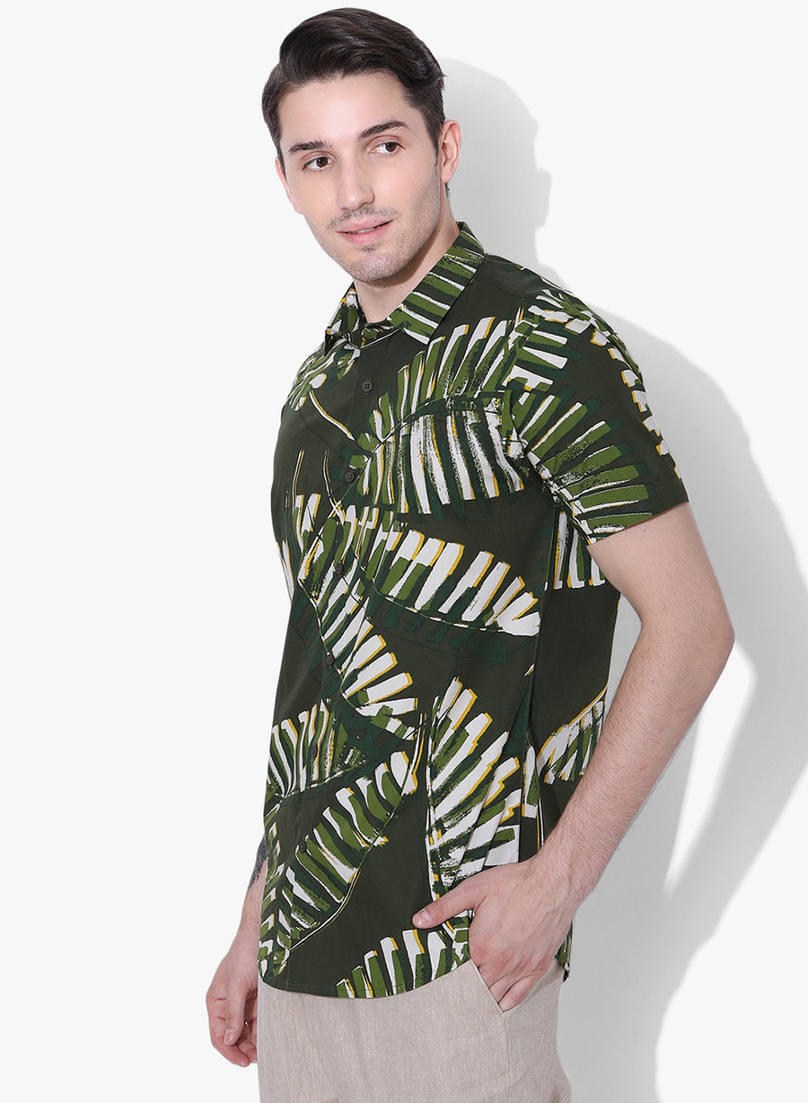 Palms Print Half Sleeves Shirt