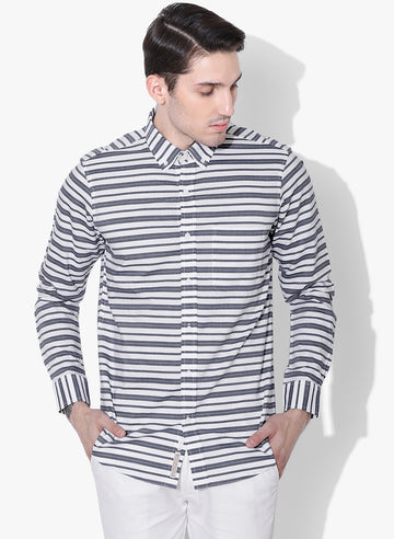 Blue Striper Full Sleeves Button Down Shirt