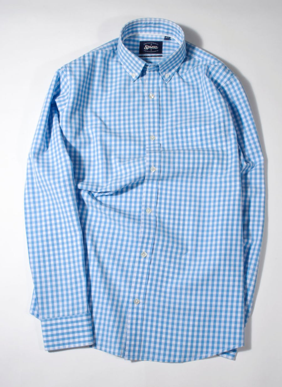 Light Blue Gingham Check Button Down Slim Fit Shirt