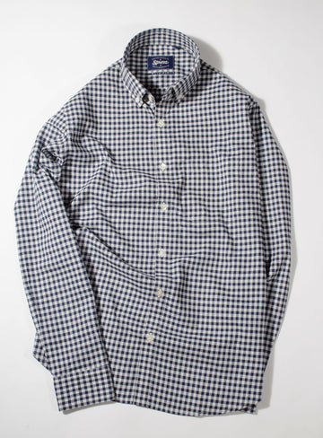 Donegal Navy Blue Gingham Check Button Down Slim Fit Shirt