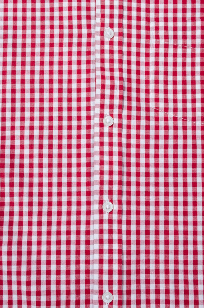 Red Gingham Check Button Down Slim Fit Shirt