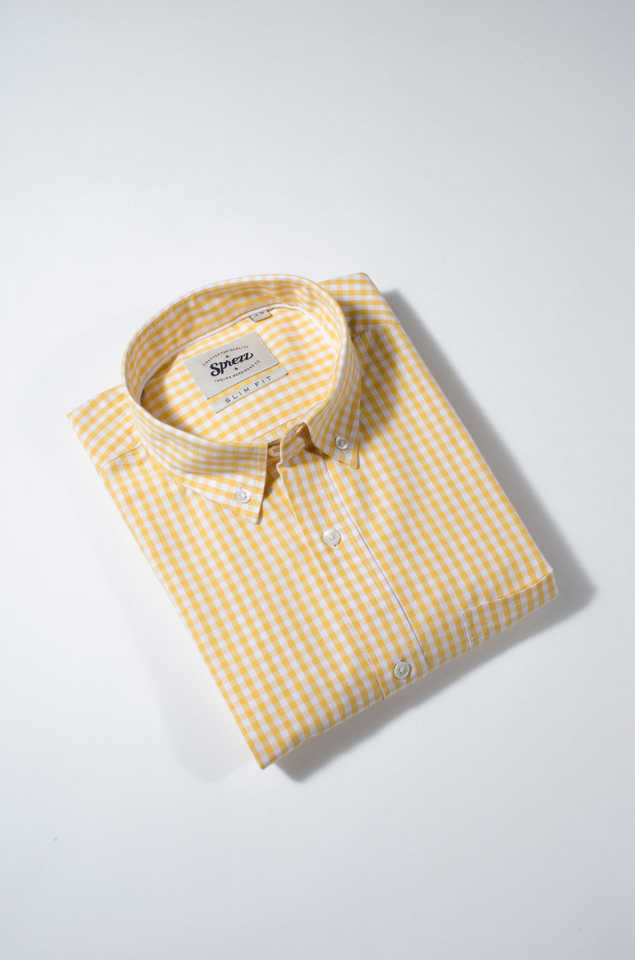 Pastel Yellow Gingham Check Button Down Slim Fit Shirt