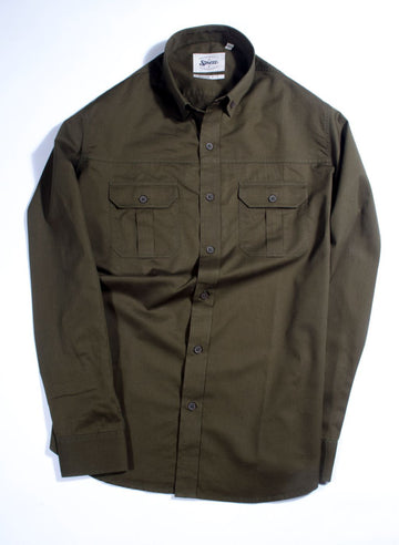Olive Button Down Safari Slim Fit Shirt
