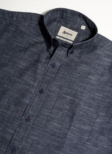 Slub Texture Indigo Button Down Slim Fit Shirt
