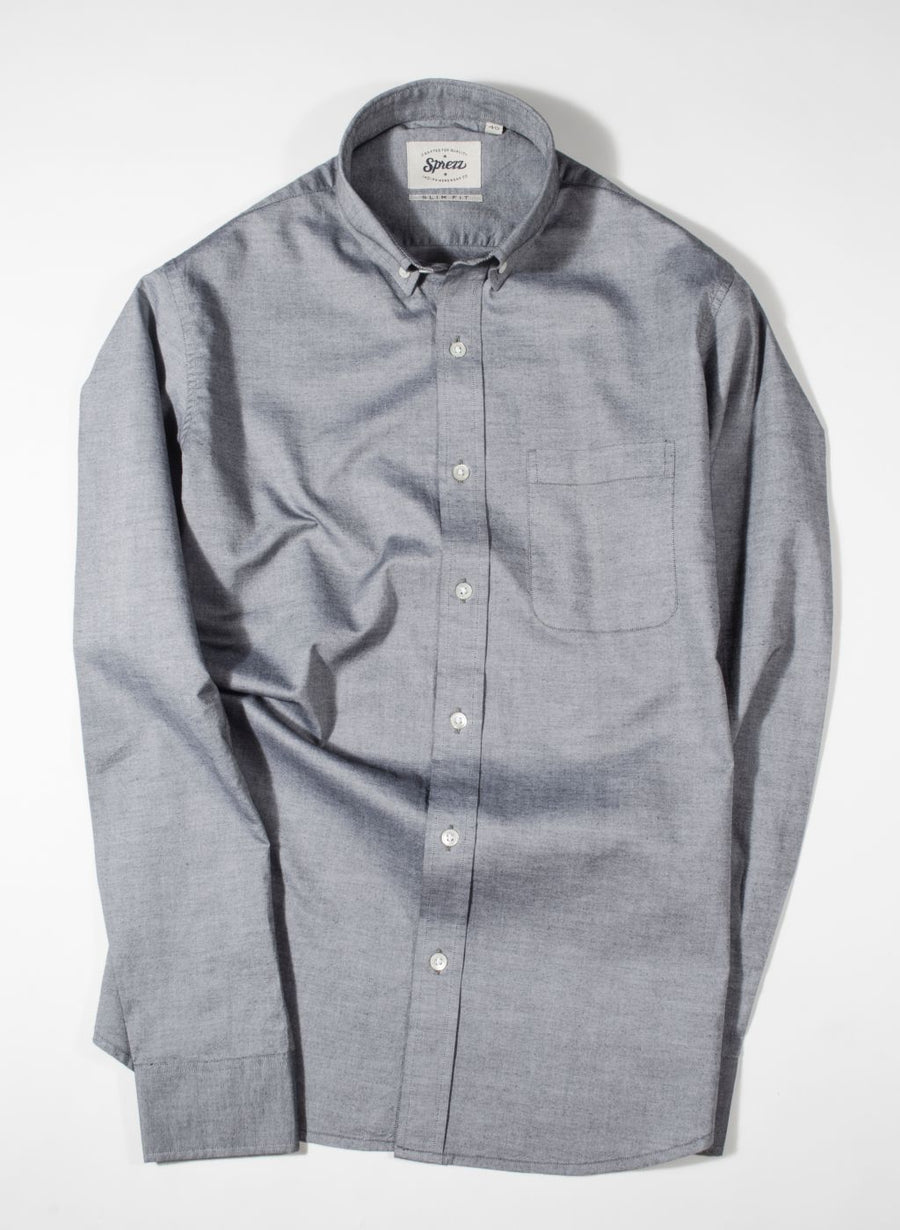 Charcoal Grey Chambray Button Down Slim Fit Shirt
