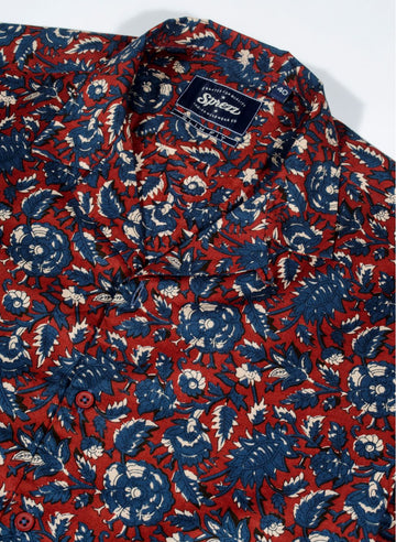 Buroku Floral Print Resort Collar Shirt