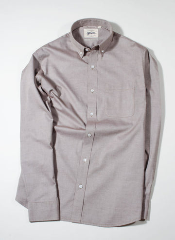 Dusty Brown Chambray Button Down Slim Fit Shirt