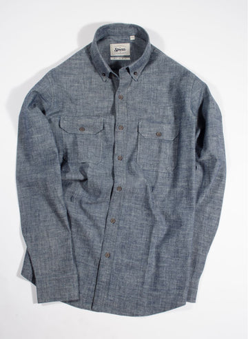 Denim Chambray Double Flap Pocket Shirt