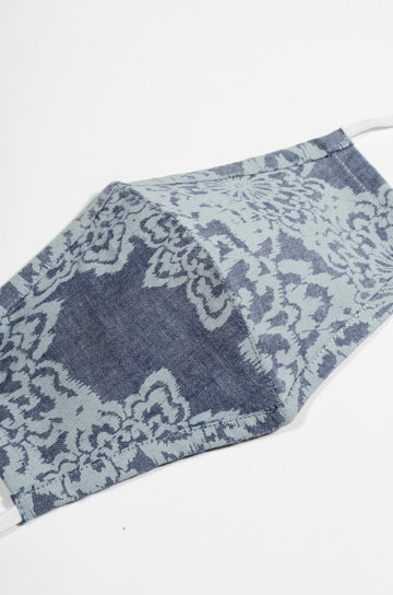 Denim Floral Print 2 Ply Cotton Mask (Set of 2 pcs)