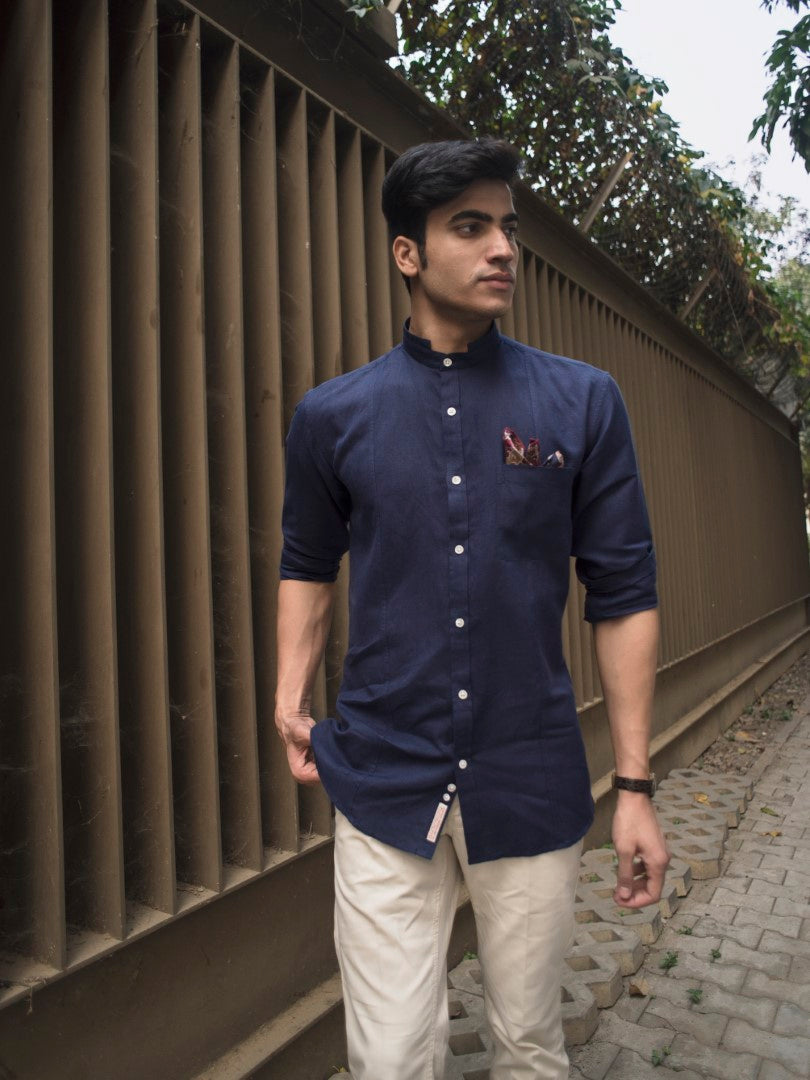 Indigo Cotton Lenin Grandad Collar Slim Fit Shirt