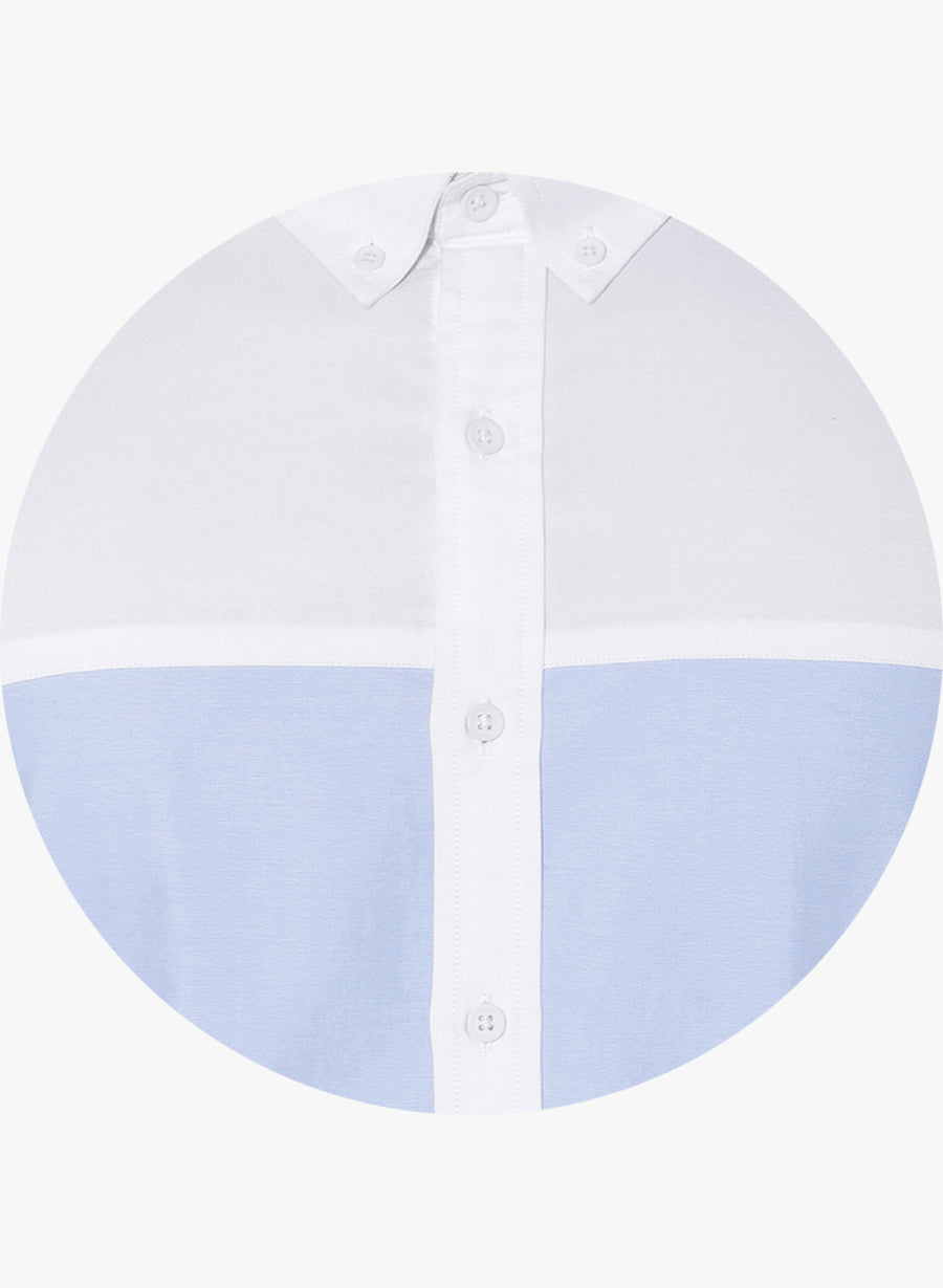 White Oxford Color Block Button Down Shirt
