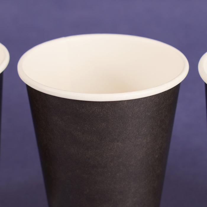 12OZ PAPER HOT CUPS - Black (90MM) - 1,000 CT