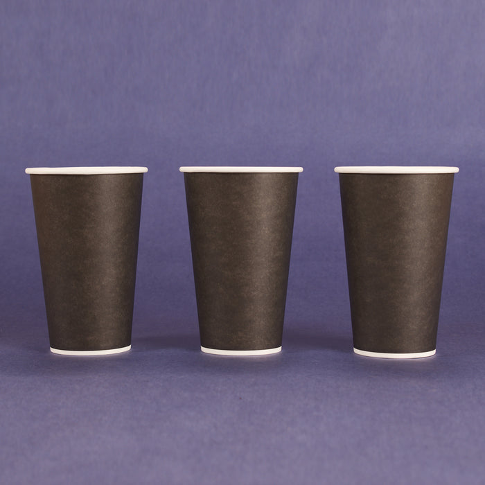 16OZ PAPER HOT CUPS - Black (90MM) - 1,000 CT