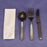 Cutlery Kits, Heavy-Weight Black Plastic Knife, Fork, Soup Spoon, and 1Ply Napkin (250/set)