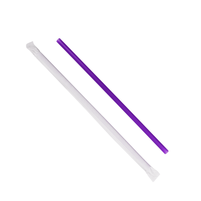 KARAT 9'' GIANT STRAWS (8MM) PAPER WRAPPED - PURPLE - 1,200 CT, C9120 (PURPLE)