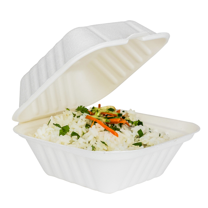 "6""x6"" Bagasse Hinged Container"