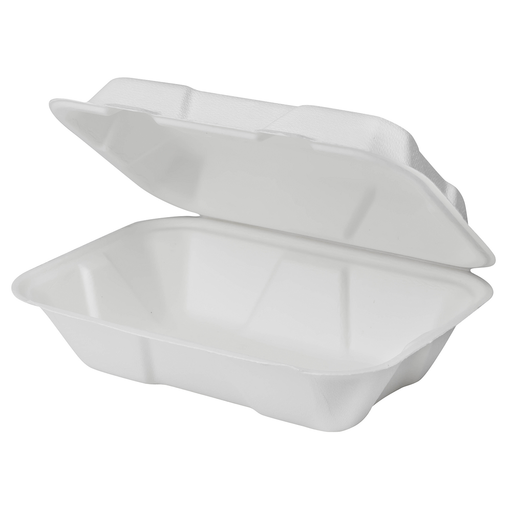 "9""x6"" Bagasse Hinged Container"