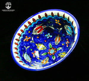 Hand-Painted Serving Bowl with Fish, Large