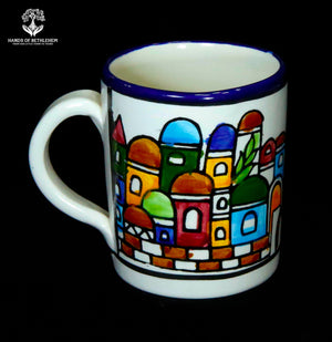 Hand-Painted Ceramic Coffee Mug, Cityscape