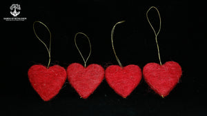 Christmas Hearts-100% Sheep's Wool