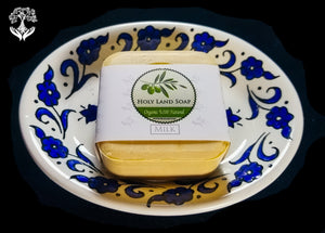 Olive Oil Soap with Ceramic Dish, Milk