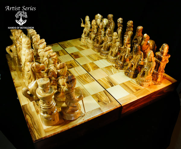 ARTIST SERIES-Chess Set with Carved Figures-LARGE