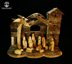 Nativity Set with Natural Wood Stable