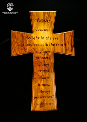 Cross with 1 Corinthians 13:8