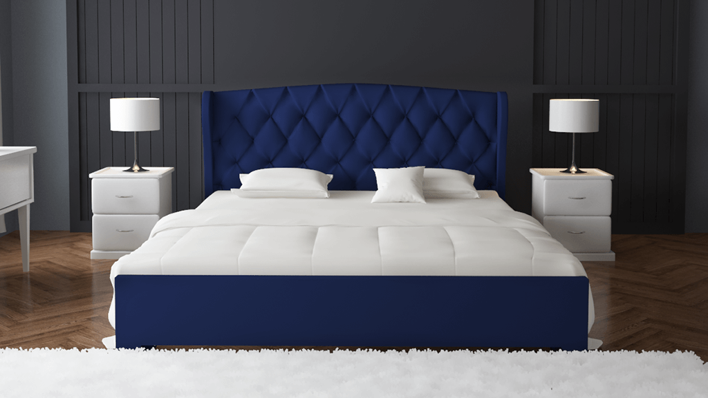 Navy Double Fabric Wing Bed 6X5